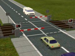 UK Automatic Half Barrier level crossing. This style is appropriate for the 1970's up to the current day. This should be used where road traffic is relatively light. In heavier traffic areas, use a Full Barrier skirted CCTV level crossing.