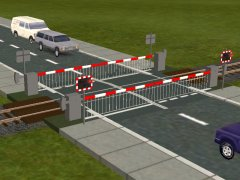 UK Skirted Full Barrier single track level crossing. This style is appropriate for the 1970's up to the current day. Used where traffic (either road or rail) is too heavy for an automatic half-barrier crossing.