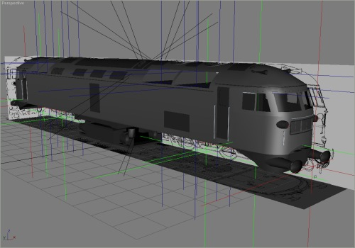 The bodyshell has received some attention too - the underframe is now nearly complete, only cables and pipework to add. (The fans and grilles which appear to be missing are built and animated, and are thus in separate source files.)